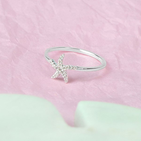 Sterling silver starfish fine band ring with CZ crystals | Image 1