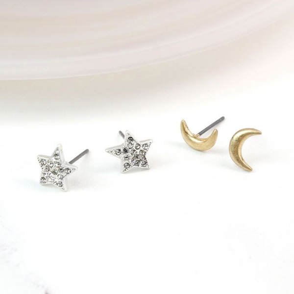 Gold plated moon and silver plated crystal star earring set | Image 1