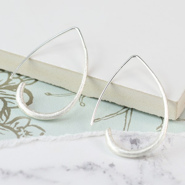 Silver plated scratched finish open teardrop earrings | Image 1