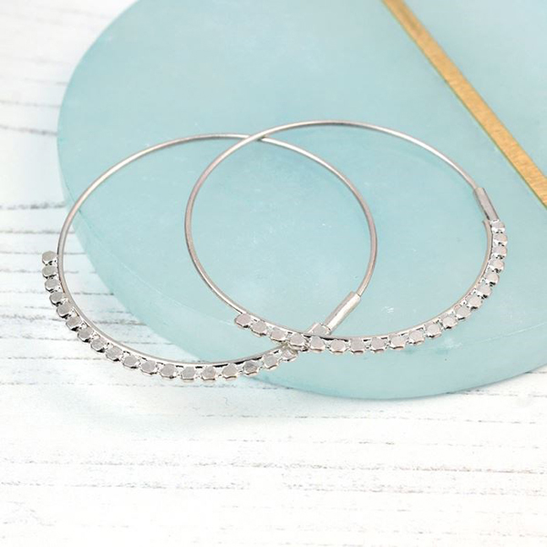 Silver plated hoop earrings with decorative detail | Image 1