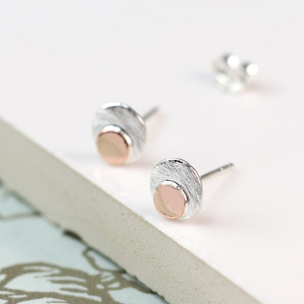 Sterling silver and rose gold double disc stud earrings | Image 1