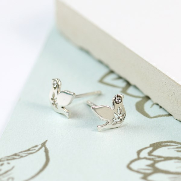 Sterling silver dove earrings with crystal detail | Image 1