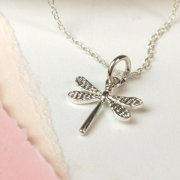 Sterling silver dragonfly charm necklace | Image 1