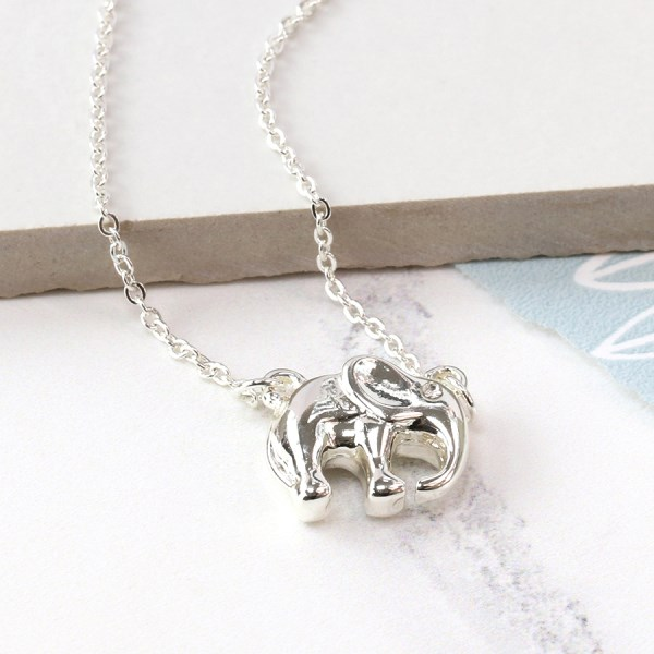 Silver plated elephant necklace with crystal detail | Image 1