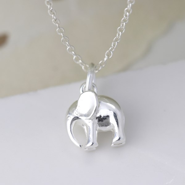 Sterling silver elephant pendant on a fine silver chain | Image 1