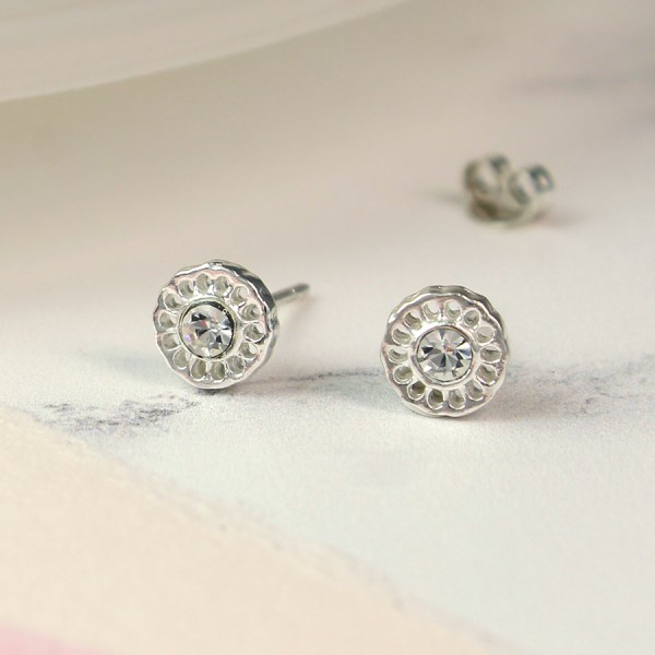 Sterling silver filigree stud earrings with crystal | Image 1