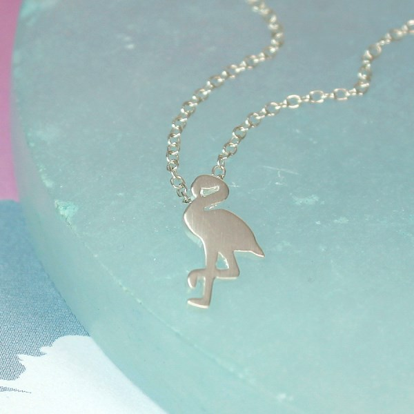 Sterling silver flamingo necklace with a brushed finish | Image 1