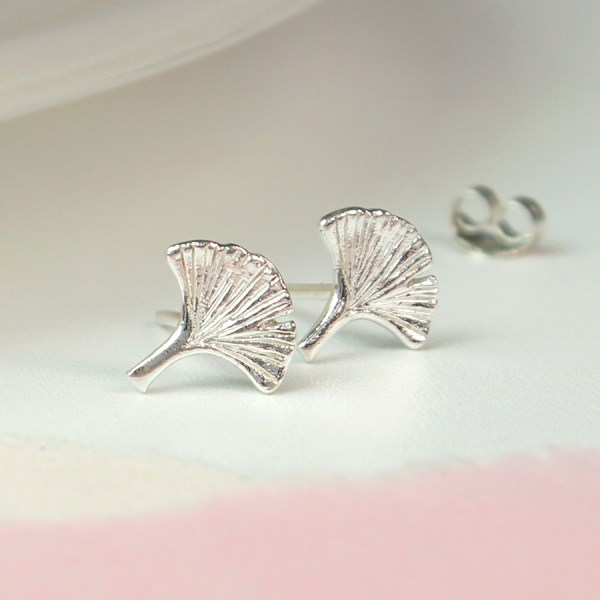 Sterling silver Ginkgo leaf stud earrings | Image 1