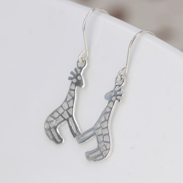 Sterling silver giraffe drop earrings with cut-out detailing | Image 1