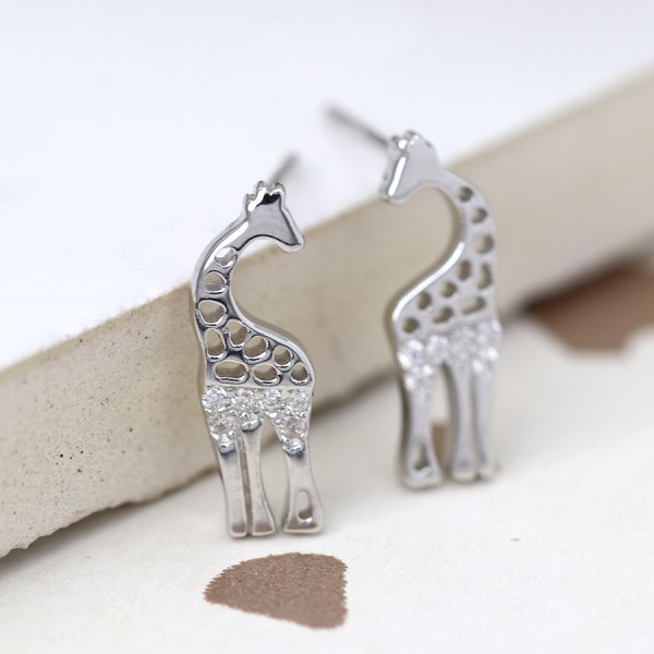 Sterling silver giraffe stud earrings with crystals | Image 1