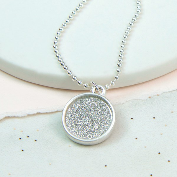 Silver plated bead necklace with silver sparkle disc | Image 1