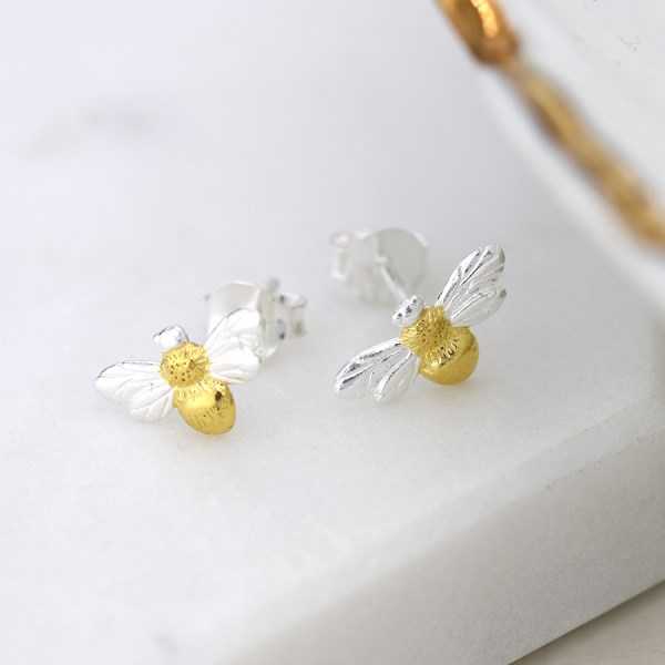 Sterling silver bee stud earrings with gold detailing | Image 1