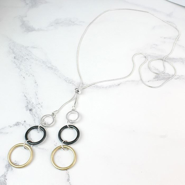 Mixed hoops necklace in silver, gold and hematite | Image 1