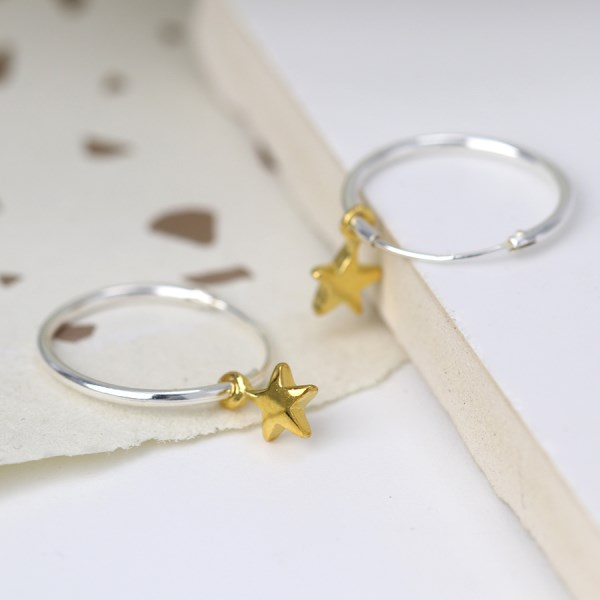 Sterling silver fine hoop earrings with gold plated stars | Image 1