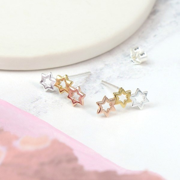 Sterling silver, gold and rose gold triple star earrings | Image 1