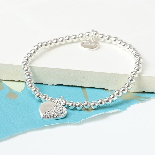 Silver plated brushed heart bracelet half inset with crystals | Image 1