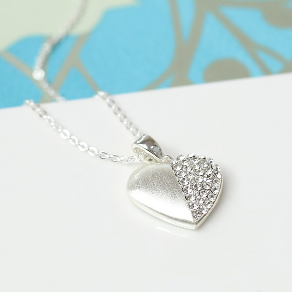 Silver plated brushed heart necklace half inset with crystals | Image 1