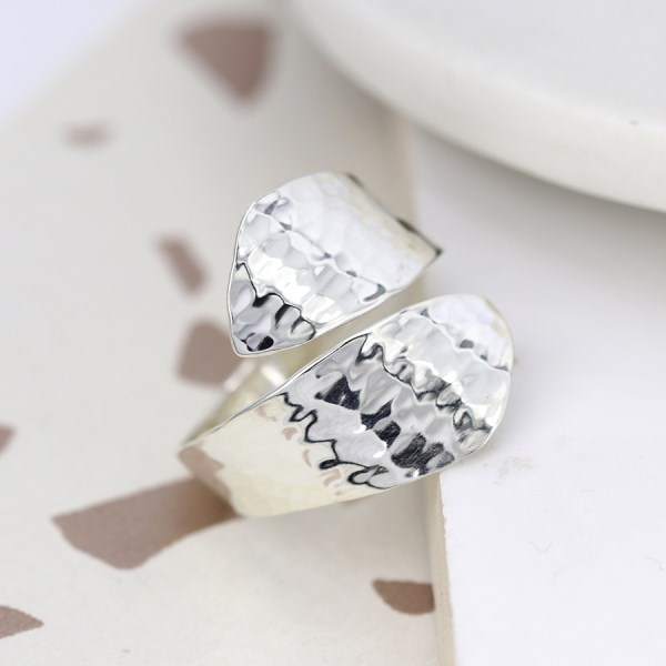 Sterling silver wrap ring with a hammered finish | Image 1