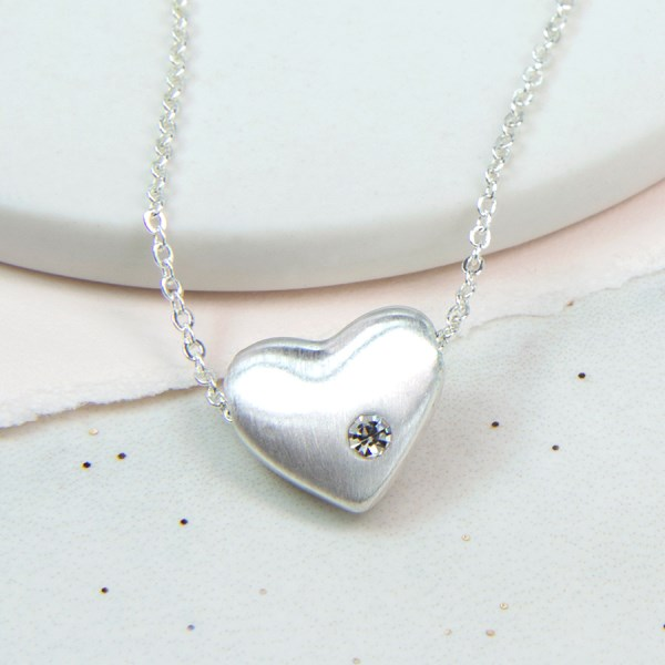 Silver plated heart necklace with brushed finish and crystal | Image 1