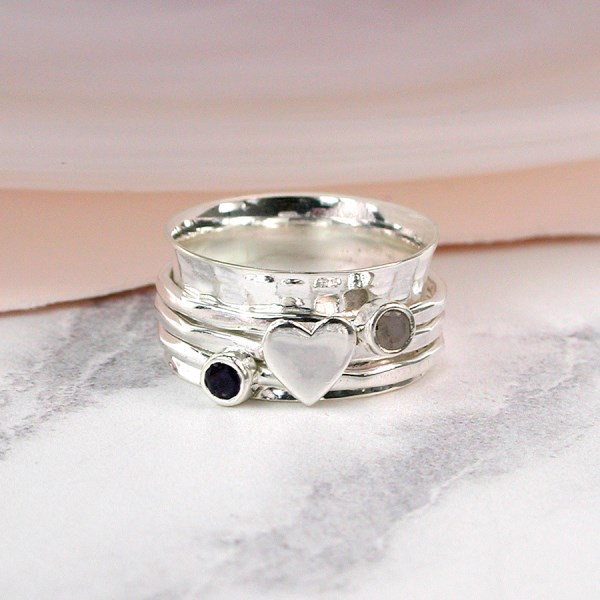 Sterling silver, gemstone and silver heart spinning ring | Image 1