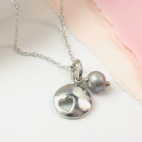 Sterling silver heart disc and grey pearl necklace | Image 1