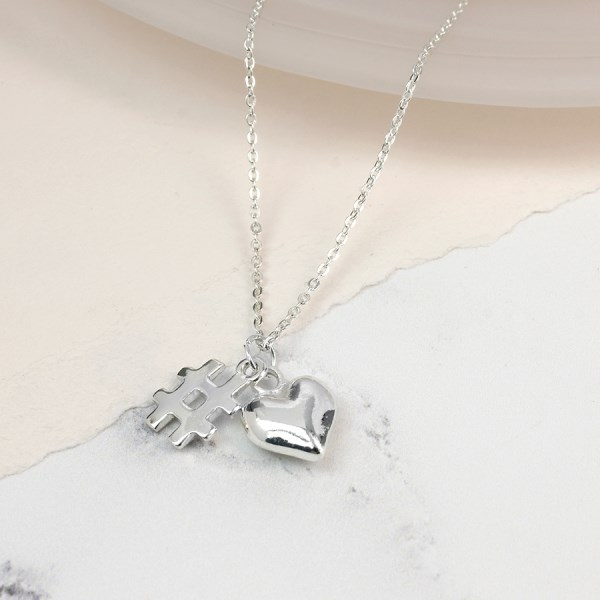 Silver plated heart and hashtag charm necklace | Image 1