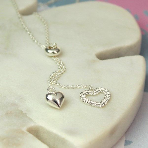 Sterling silver two hearts double drop necklace | Image 1