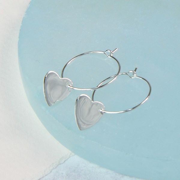 Sterling silver hoop with heart charm earrings | Image 1