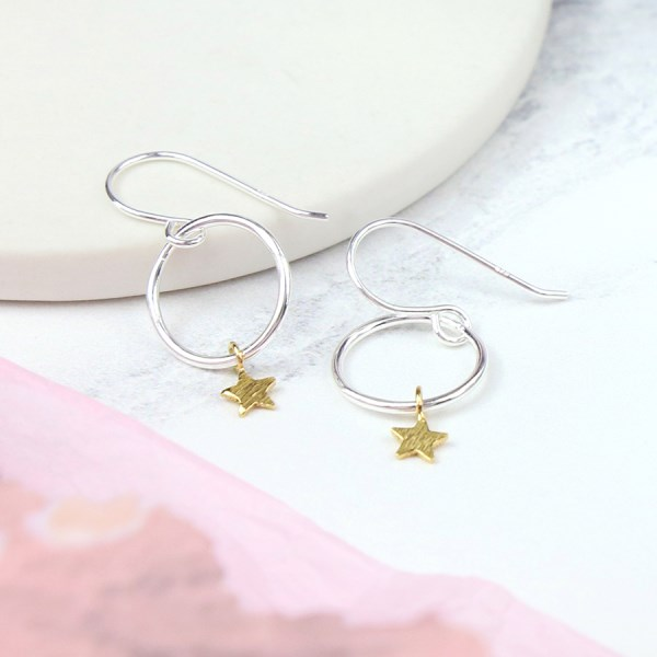 Sterling silver drop earrings with hoops and gold stars | Image 1