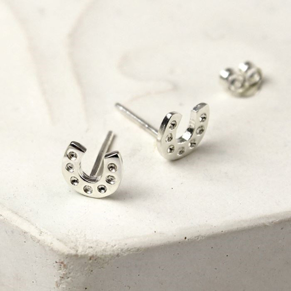 Sterling silver little horseshoe stud earrings | Image 1