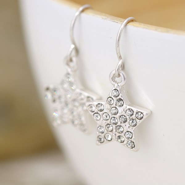 Silver plated crystal inset star drop earrings | Image 1