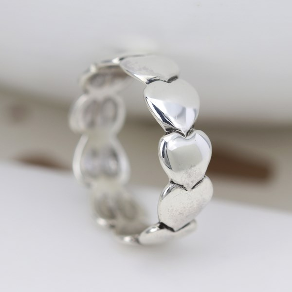 Sterling silver ring with multi linked heart design | Image 1