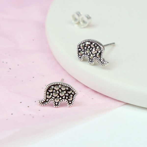 Sterling silver elephant stud earrings with Marcasite gemstones | Image 1