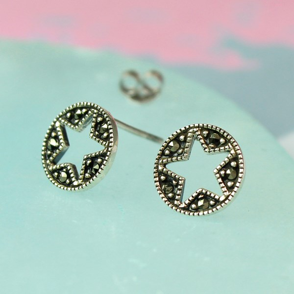Sterling silver Marcasite star disc stud earrings | Image 1