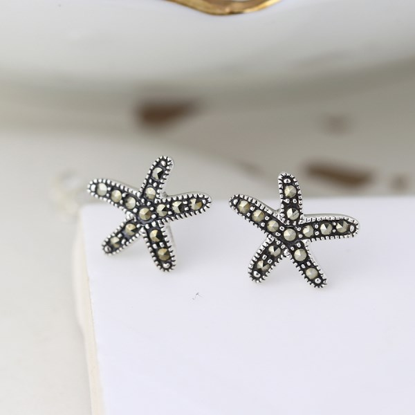 Sterling silver and marcasite starfish stud earrings | Image 1