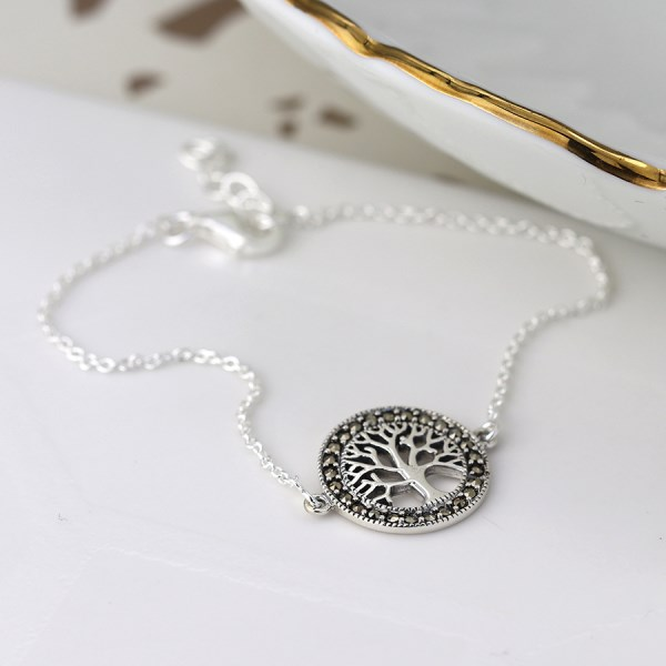Sterling silver bracelet with a marcasite tree of life disc | Image 1