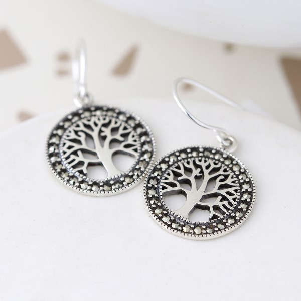 Sterling silver marcasite tree of life drop earrings | Image 1