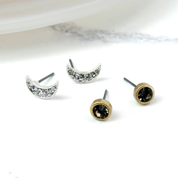 Silver plated crystal moon gold plated smoky earring set | Image 1