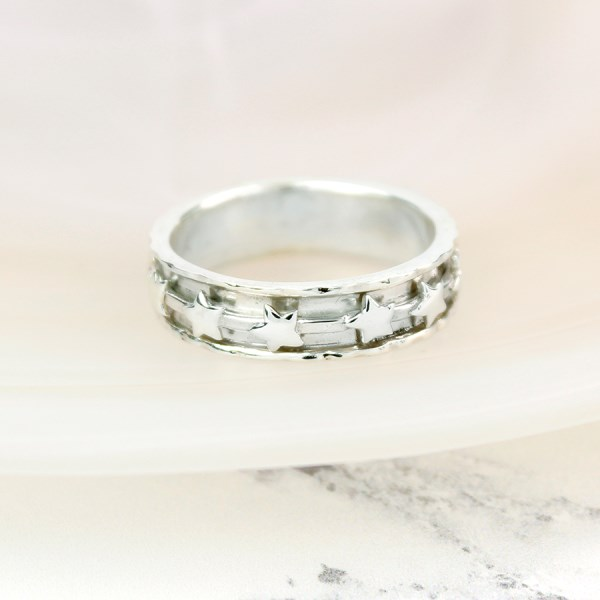 Sterling silver spinning ring with multi star design | Image 1
