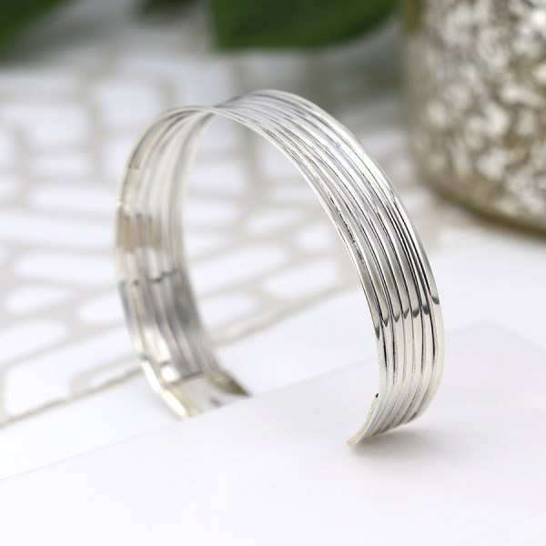Sterling silver bangle with a multi strand design | Image 1