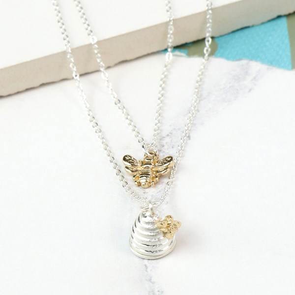 Silver plated layered necklace with bee and beehive | Image 1