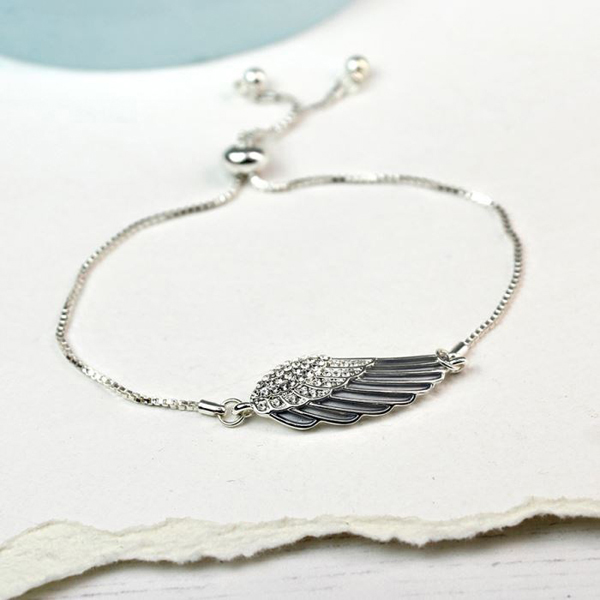Silver plated angel wing bracelet with enamel and crystals | Image 1