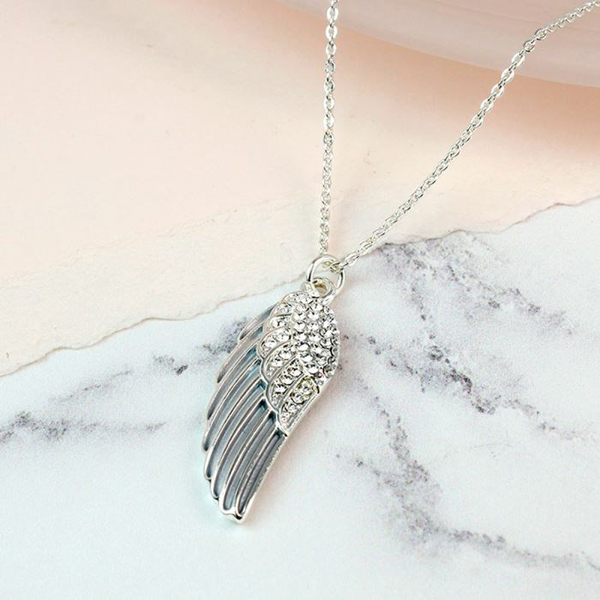 Silver plated enamel angel wing necklace with crystals | Image 1