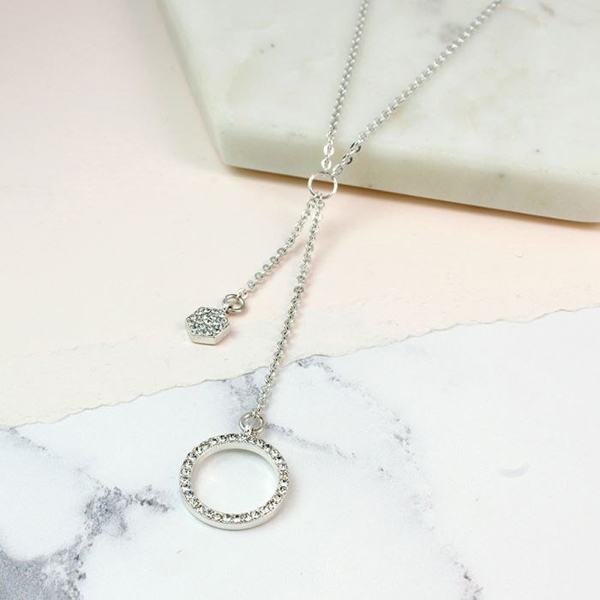Silver plated split necklace with crystal hoop and hexagon | Image 1