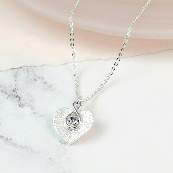 Silver plated folded heart and crystal twist necklace | Image 1