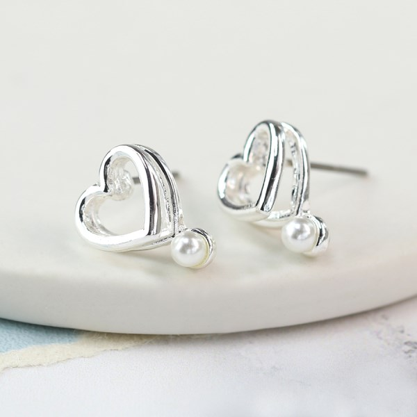 Silver plated double heart earrings with white pearls | Image 1