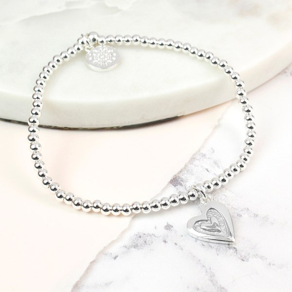 Silver plated bead and grey enamel heart bracelet | Image 1