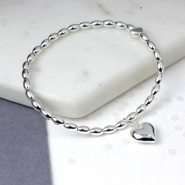 Silver plated bead and heart charm bracelet | Image 1