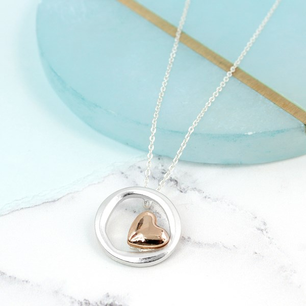 Silver plated irregular hoop necklace with rose gold heart | Image 1