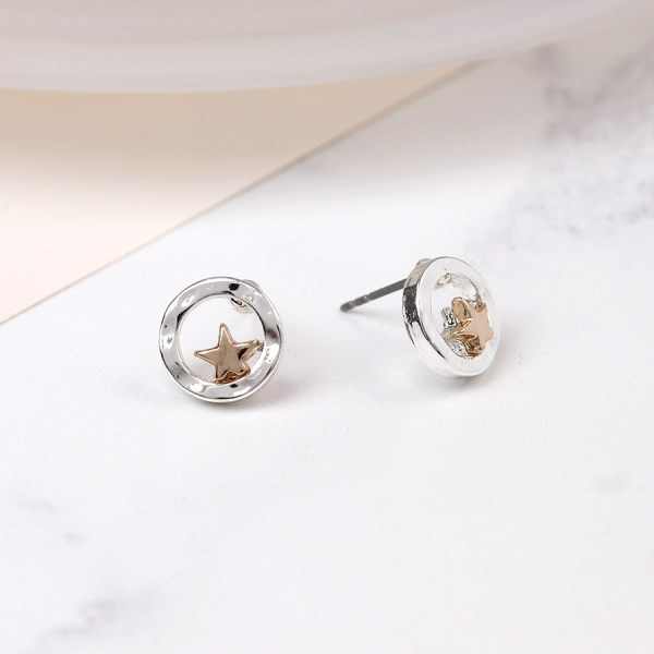 Silver plated circle stud earrings with rose gold star | Image 1